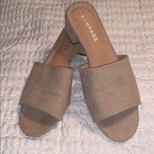Light tan/blush block heel mules